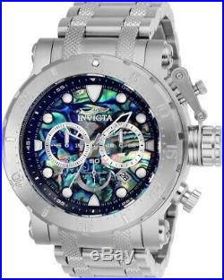 Invicta Mens Coalition Force Chrono Abalone Dial Sliver-Tone SS Bracelet Watch