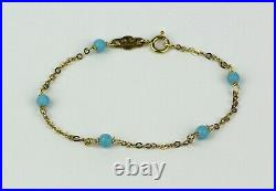Italian 18k Yellow Gold and Turquoise Bead Station Bracelet