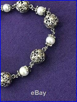 John Hardy Sterling Silver & 18K Gold Pearl Chain Bracelet 8 (M) DY 925 750