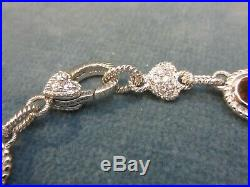 Judith Ripka Sterling Link Bracelet Citrine Pearl Gold Fleur de Lis 7.5