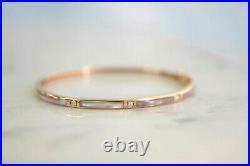 KABANA 14K Rose Gold Pink Mother of Pearl. 09ct Diamond Bangle Bracelet P-06136