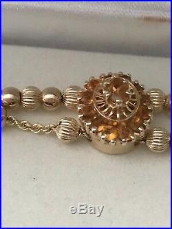 KJLC Slide Charm Bracelet in 14Kt Yellow Gold with Citrine Charm n 28 Gold beads