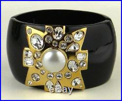 Kenneth Jay Lane Gold and Pearl Maltese Cross with Black Enamel Cuff Bracelet