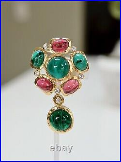 Kenneth Jay Lane KJL Gold Plated Emerald Ruby Pin Marked
