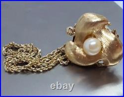 LONG Vintage 14k Yellow Gold Pearl Floral Flower Slide Charm Bracelet