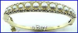 Ladies 14k Yellow Gold Pearl Diamond Bangle Bracelet