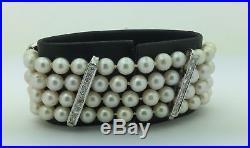 Ladies Estate Vintage 1960's 14K White Gold Diamond & Cultured Pearl Bracelet
