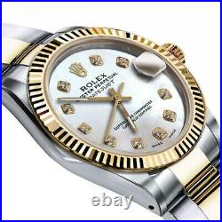 Ladies Rolex 26mm Datejust Two Tone White MOP Mother of Pearl Dial with Diamond