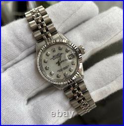 Ladies Rolex DateJust 18K White Gold & Steel Diamond Pearl Dial 6517 Jubilee