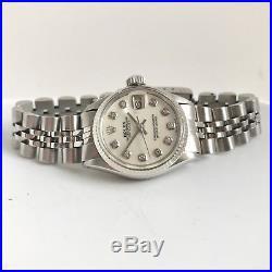 Ladies Rolex Datejust 18K White Gold & Steel Pearl Diamond Dial Jubilee Bracelet