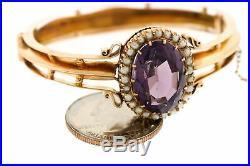 Ladies Vintage Estate 14K Yellow Gold Amethyst Seed Pearl 6.25 Bangle Bracelet