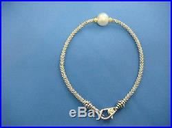 Lagos Luna Pearl Caviar Bracelet 18k Gold And Silver With 9 MM Pearl, Size M