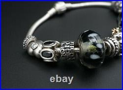 Loaded 13 Bead Pandora Sterling 14k Gold Charm Bracelet Bee XL Glass BS2420