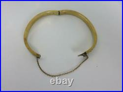 Lovely Antique BANGLE BRACELET 14K Yellow Gold withPearls VICTORIAN Hinged 13.8 g