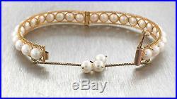 Lovely Ladies Ferhat 14K Yellow Gold Pearl Cuff Bangle Bracelet
