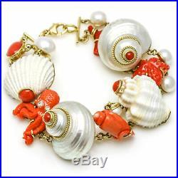 MAZ 18k Yellow Gold Coral Shell Pearl Fashion Bracelet