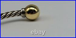 MED David Yurman Solari Sterling Silver Diamond & 18k Gold Bead Cable Bracelet