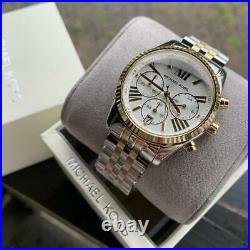 MICHAEL KORS MK5955 Lexington Chronograph Gold & Silver Tone Ladies Watch USA
