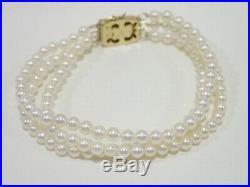 MIKIMOTO 14k yellow gold 3.5 mm akoya pearls 3 strand bracelet 6.5