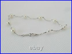 MIKIMOTO Akoya Cultured Pearl Station Bracelet in 18k White Gold 7 Long