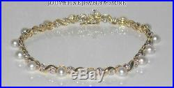 Magnificent Estate 10k Yellow Gold White Pearl & Diamond Tennis Bracelet 7.25