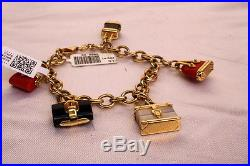 Magnificent French Brand New 14k Gold Onyx Coral Mother Of Pearl Charm Bracelet