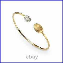 Marco Bicego 18K Yellow Gold Bead & Diamond Cuff Bangle New and Authentic
