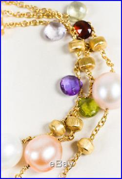 Marco Bicego Paradise 18K Gold Multicolor Semi Precious Bead & Pearl Bracelet