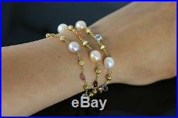 Marco Bicego Paradise 18K Yellow Gold Freshwater Pearl Multi Gemstone Bracelet