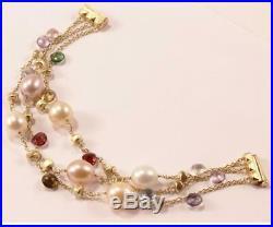 Marco Bicego Paradise 18k Yellow Gold Mixed Gemstone Pearl 3-strand Bracelet, 7