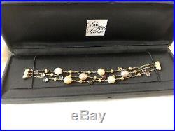 Marco Bicego Three Strand 18k Pearl And Gemstone Bracelet