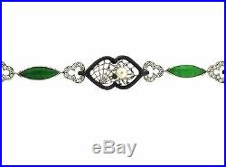 Marsh Art Deco 14k Gold Oxidized Steel Jadeite Diamond Pearl Bracelet