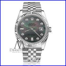 Men's Rolex 36mm Datejust Black Tahitian MOP Mother Of Pearl 8+2 Diamond Face