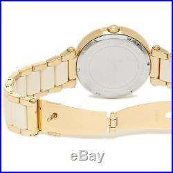 Michael Kors MK6400 Parker Gold Tone White Dial White Acetate Ladies Wrist Watch