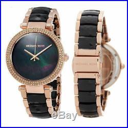 Michael Kors MK6414 Parker Rose Gold Tone Black Acetate Bracelet Women's Watch