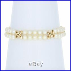 Mikimoto Akoya Pearl Bracelet 6 1/2 14k Yellow Gold Double Strand