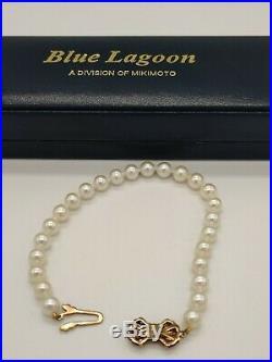 Mikimoto Blue Lagoon 14k Yellow Gold 6.0 6.5 mm Cultured Pearl Bracelet 7.5