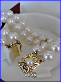 Mikimoto Pearl Bracelet 18K Yellow Gold 7mm Double Strand