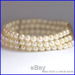 Ming's Hawaii 14k Yellow Gold Round Phoenix Clasp 3 Strand Pearl Bracelet