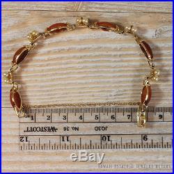 Ming's Hawaii Marquise Jade Pearl Flexible Bracelet 14k Yellow Gold Mings Jade