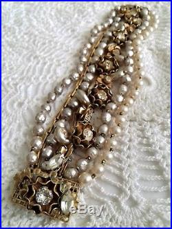 Miriam Haskell Pre-WWII Gold Plated Chains Crystal Rose Montée & Pearls Bracelet