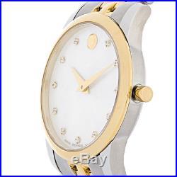 Movado Museum Ladies Diamond MOP Two Tone Bracelet Swiss Quartz Watch 0606613