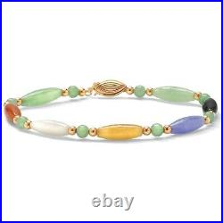 Multicolor Genuine Jade 14k Gold Bead & Barrel Bracelet 7.5