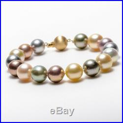 Multicolor Tahitian, South Sea Pearl Bracelet & Solid 14k Gold ball Clasp 7.8'