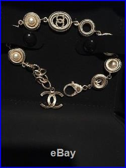 NEW Authentic CHANEL Gold pearl Bracelet Cuff with CC Logo