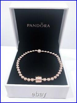 NEW Authentic PANDORA Rose Gold Beads & Pave CZ Logo Clasp Bracelet #588342CZ