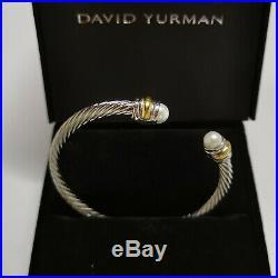 NEW Classics DAVID YURMAN Women's Cable Bracelet Pearl & 14K Gold 5mm $625