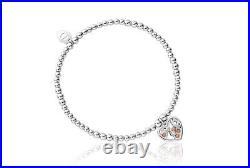 NEW Clogau Silver & Rose Gold Honey Bee Honeycomb Heart Affinity Bead Bracelet