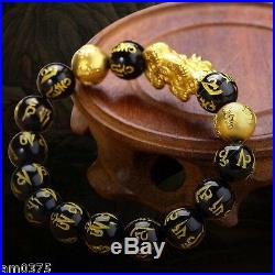 NEW Pure 24K Yellow Gold Bracelet 3D Bless Pixiu Link10mm Gold &Agate Maxim Bead