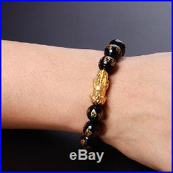 NEW Pure 24K Yellow Gold Lucky Pixiu Bead with 10mm Black Agate Bead Bracelet